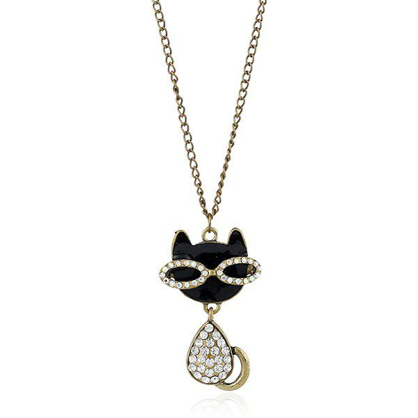 Rhinestoned Kitten Pendant Sweater Chain - BRONZED