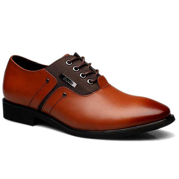 Tie Up PU Leather Metal Formal Shoes - BROWN 42