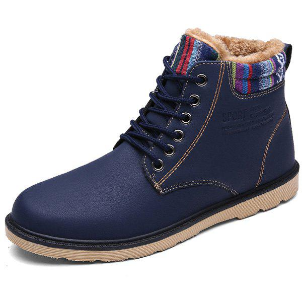 PU Leather Tie Up Striped Pattern Boots - DEEP BLUE 40