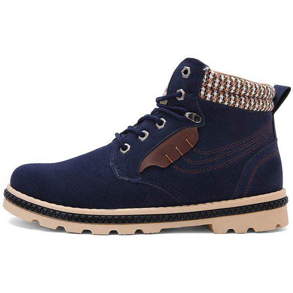 Stitching Colour Block Tie Up Boots - DEEP BLUE 40