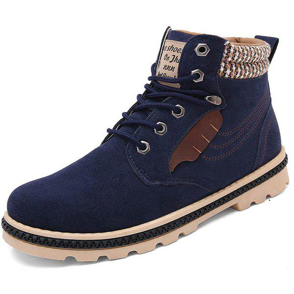 Stitching Colour Block Tie Up Boots - DEEP BLUE 44