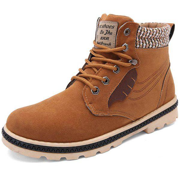 Stitching Colour Block Tie Up BootsShoes<br><br><br>Size: 41<br>Color: LIGHT BROWN