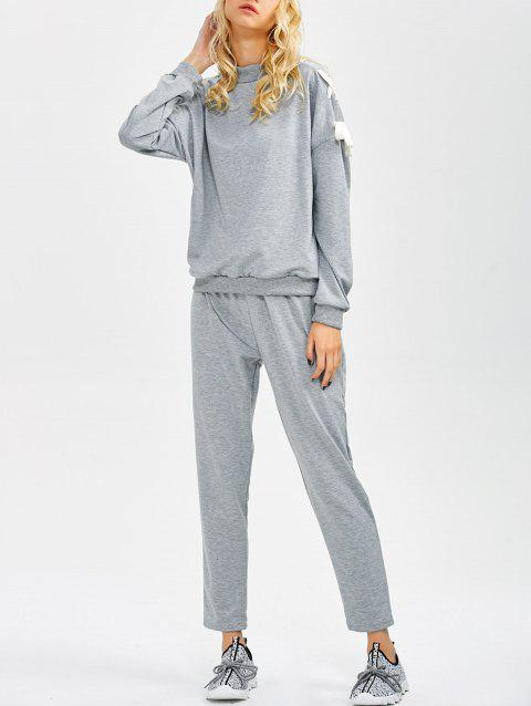 Lace Up Sweatshirt and Jogger Pants - GRAY S