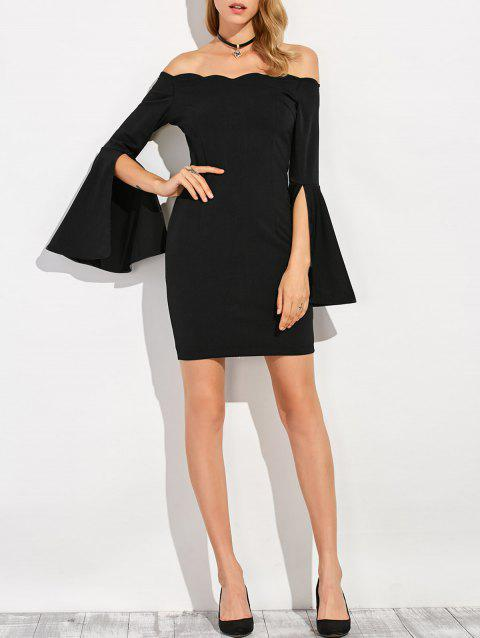 Slit Sleeve Fitted Semi Formal Little Black Dress - BLACK S