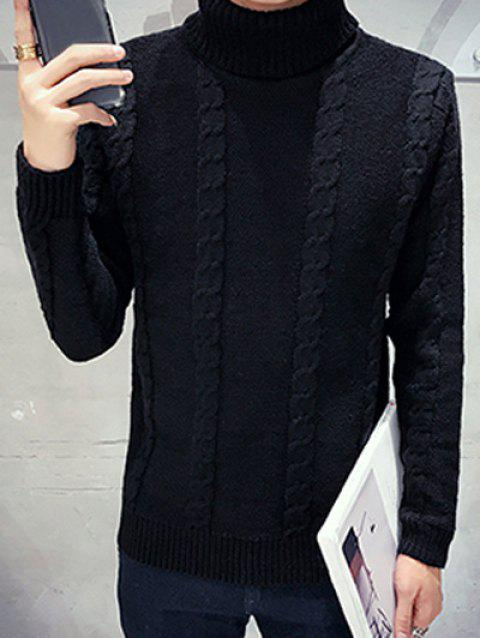 Turtleneck Long Sleeves Cable Knit Sweater - BLACK 2XL