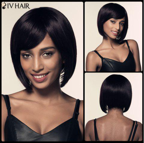 Bob Side Bang Short Straight Siv Hair Human Hair Wig - JET BLACK 01