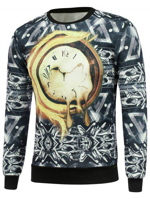 Sweat-shirt à manches longues avec impression d'horloge abstraite - multicolore XL