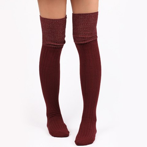 Ribbed Knit Stockings - WINE RED