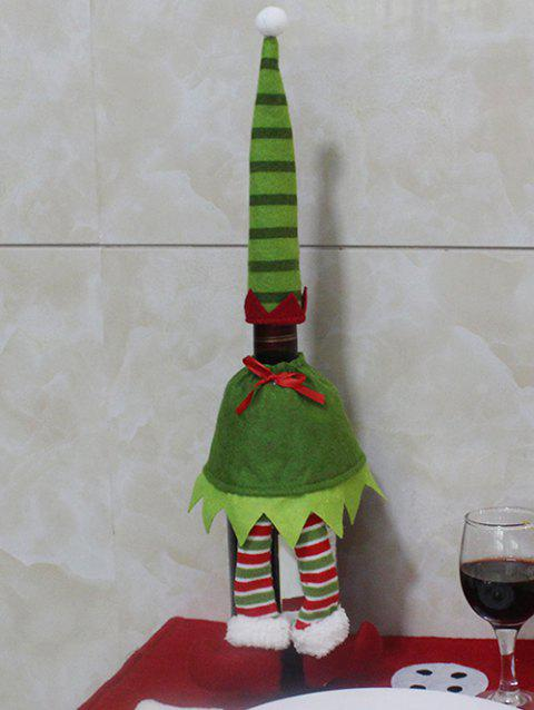 Christmas Stripe Clothes Design Wine Bottle Cover Bag - GREEN