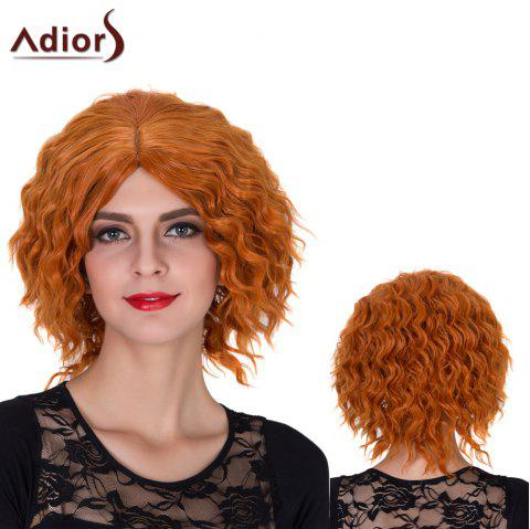 Adiors Short Shaggy Centre Parting Curly Film Character Synthetic Wig - ORANGE