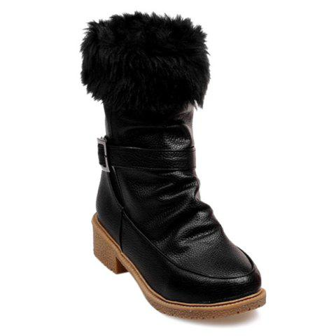 Buckle Faux Fur Trim Ankle Boots - BLACK 37