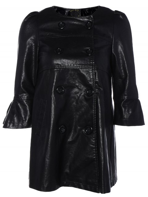 Flare Sleeve Double Breasted PU Leather Dress - BLACK XL