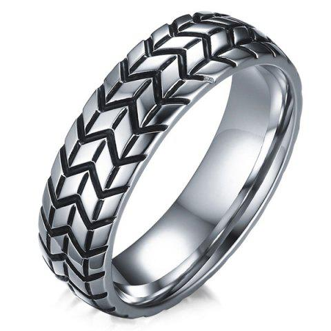 Engraved Tire Alloy Ring - SILVER 7