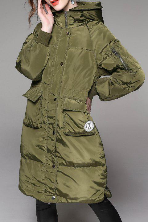 Hooded Patch Pocket Down Coat - OLIVE GREEN M