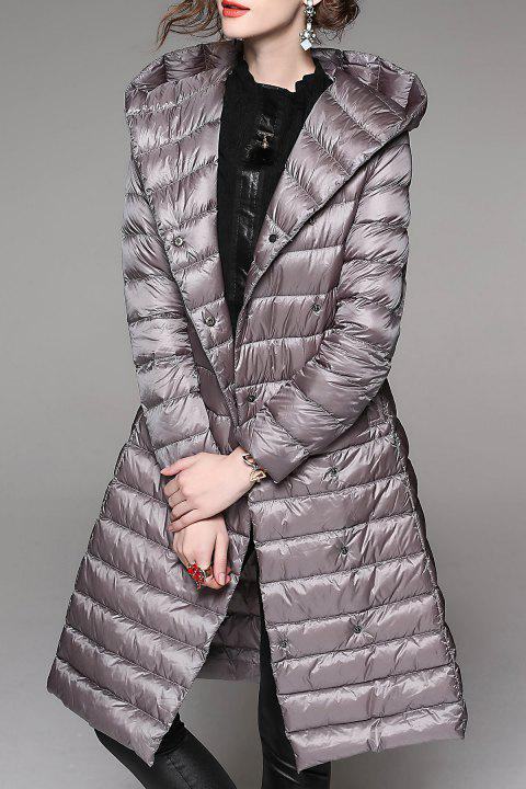 Hooded Down Coat With Belt - SILVER GRAY XL