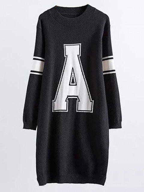Crew Neck Letter A Mini Sweater Dress - BLACK ONE SIZE