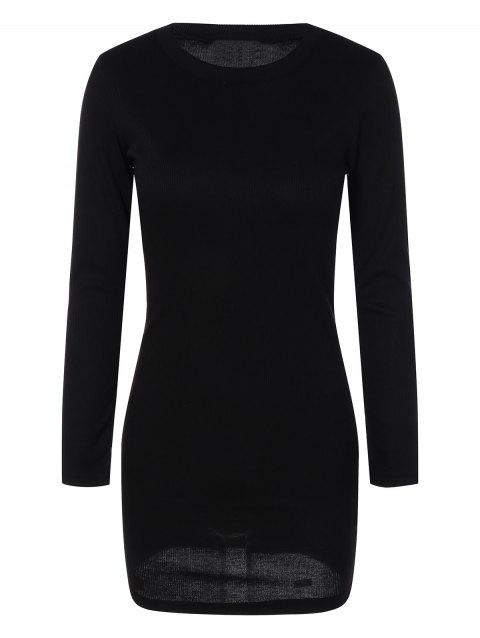 Mini Ribbed Long Sleeve Knit Dress - BLACK S