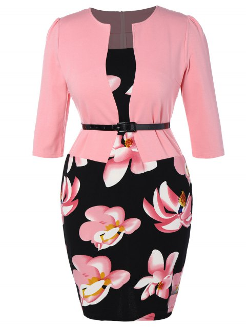 41% OFF] 2019 Plus Size Mid Length Pencil Peplum Dress In PINK ...