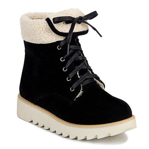 Suede Faux Shearling Panel Short Boots - BLACK 37