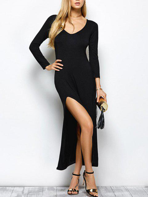 61fab48723 2019 Plunge Neck High Slit Long Sleeve Bodycon Maxi Dress In BLACK ...