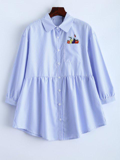 Pinstriped Embroidery Button Up Blouse - CLOUDY S