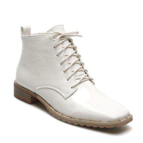 Square Toe Lace Up Patent Leather Ankle Boots - WHITE 38