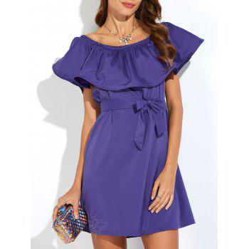 Off The Shoulder Flounce Belted Dress