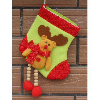 Christmas Decor Deer Pattern Hanging Stocking Present Bag - YELLOW YELLOW