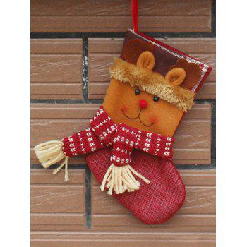 Deer Patern Stocking Present Sock Christmas Tree Decor