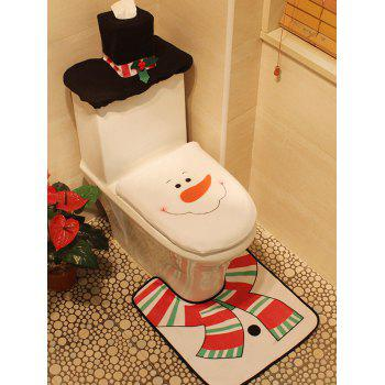 Christmas Decoration Snowman Pattern 3PCS Toilet Seat Cushion Cover Set - WHITE WHITE