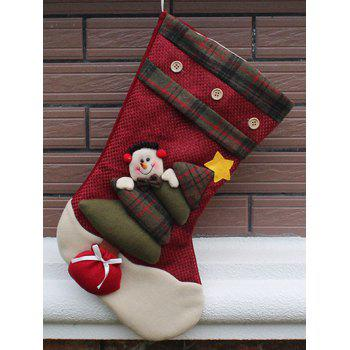 Christmas Decor Snowman Pattern Hanging Kids Gift Sock