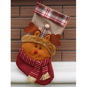 Christmas Elk Hanging Stocking Decoration Present Bag Sock