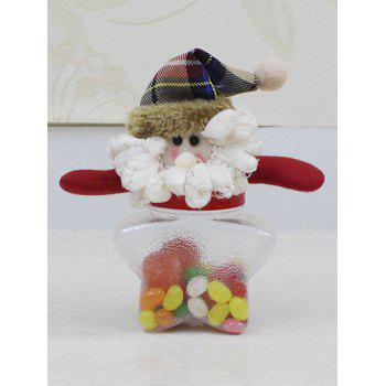 Christmas Plush Santa Doll Transparent Star Shape Candy Jar