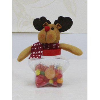 Christmas Cute Plush Elk Toy Star Shape Candy Jar - TRANSPARENT TRANSPARENT