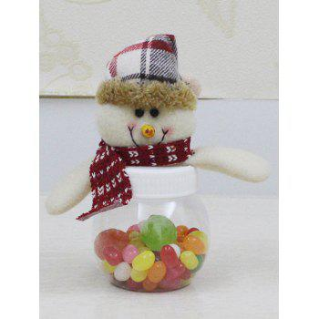 Christmas Plush Snowman Doll Transparent Candy Jar