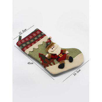 Christmas Decor Santa Pattern Stocking Children Present Bag -  GREEN