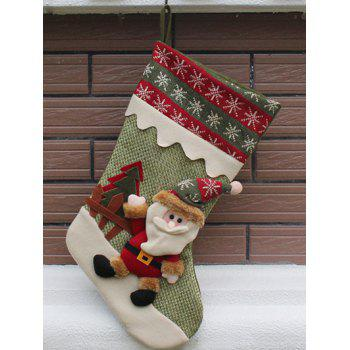 Christmas Decor Santa Pattern Stocking Children Present Bag - GREEN GREEN