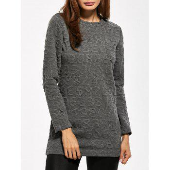 Jewel Neck Number Jacquard T-Shirt
