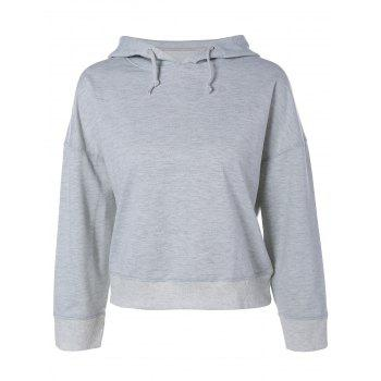Drop Shoulder Drawstring Cropped Hoodie