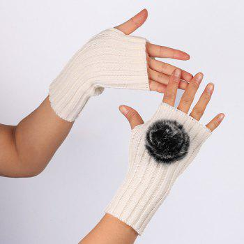 Winter Crochet Pom Ball Fingerless Gloves -  WHITE