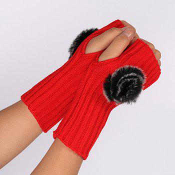Winter Crochet Pom Ball Fingerless Gloves - BRIGHT RED