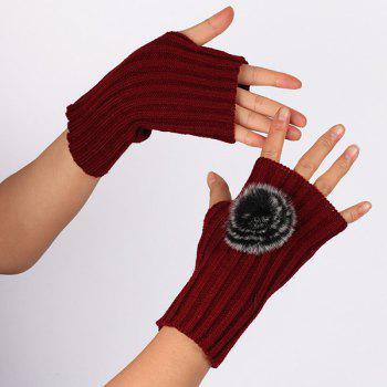 Winter Crochet Pom Ball Fingerless Gloves - WINE RED