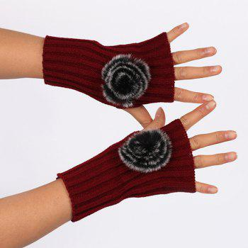 Winter Crochet Pom Ball Fingerless Gloves