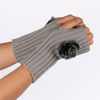 Winter Crochet Pom Ball Fingerless Gloves -  LIGHT GRAY
