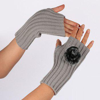 Winter Crochet Pom Ball Fingerless Gloves - LIGHT GRAY LIGHT GRAY