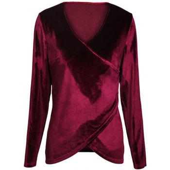 Long Sleeve Velvet Surplice Top