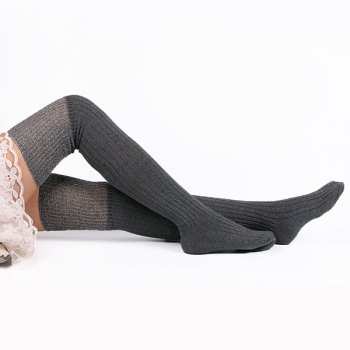 Ribbed Knit Stockings - GRAY