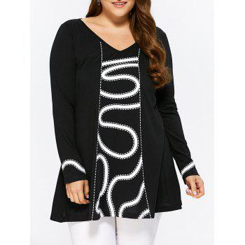 Plus Size Print Trim Smock T-Shirt