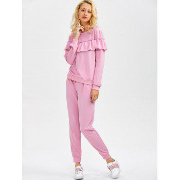 Flounced Sweatshirt and Jogger Pants - PINK XL