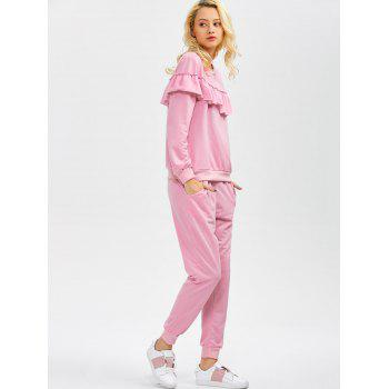 Flounced Sweatshirt and Jogger Pants - PINK S